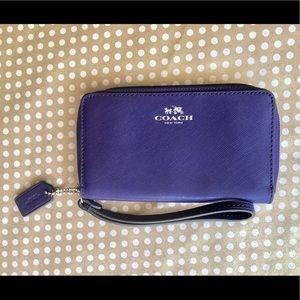 Coach Purple Saffiano Leather Wristlet